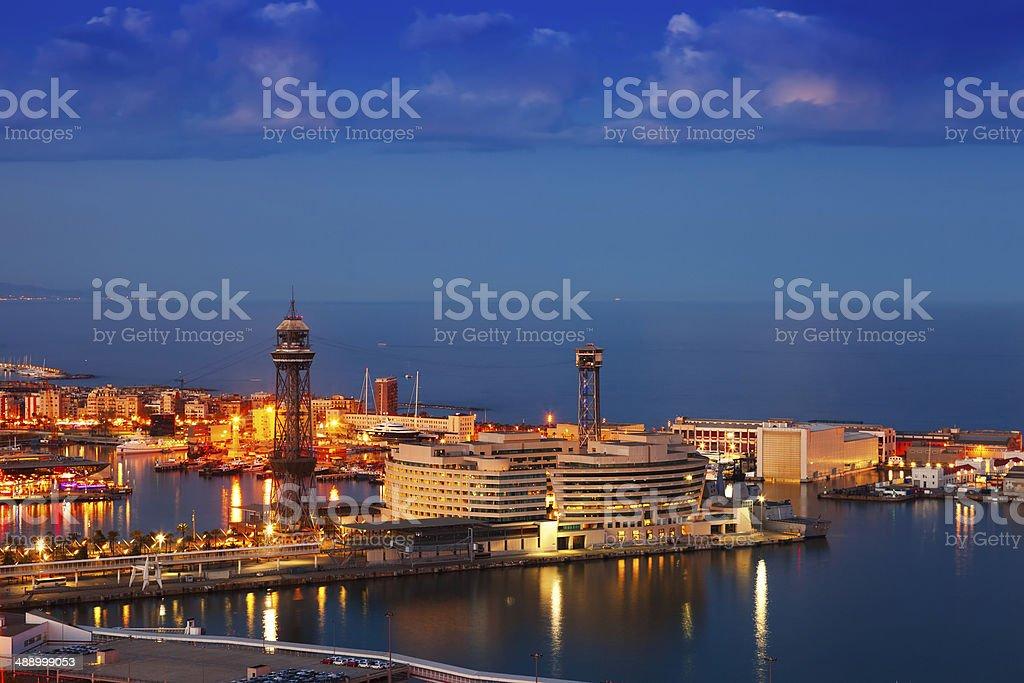 Port Vell in night. Barcelona stock photo