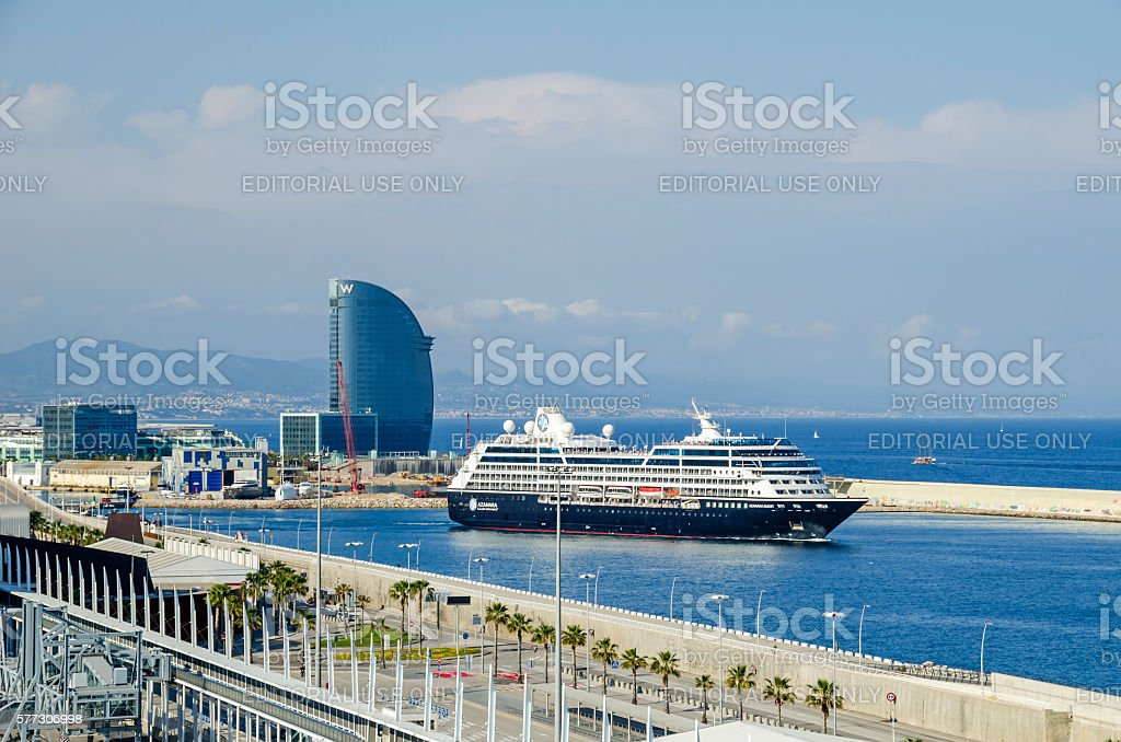 Port Vell of Barcelona with Hotel Vela and cruise Azamara stock photo