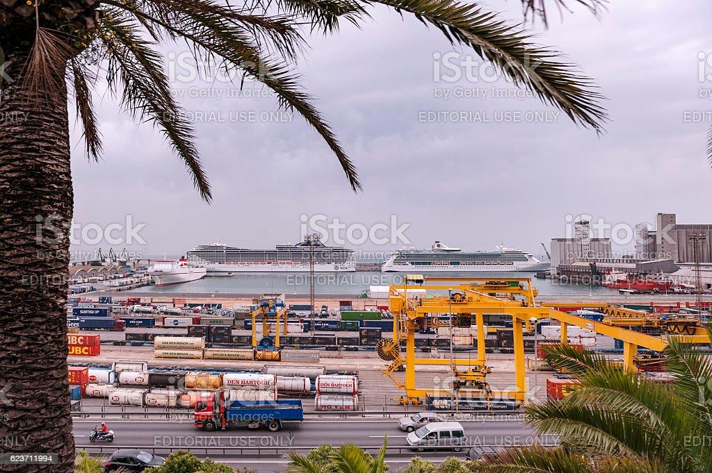 Port Vell of Port de Barcelona (Barcelona Harbor) stock photo