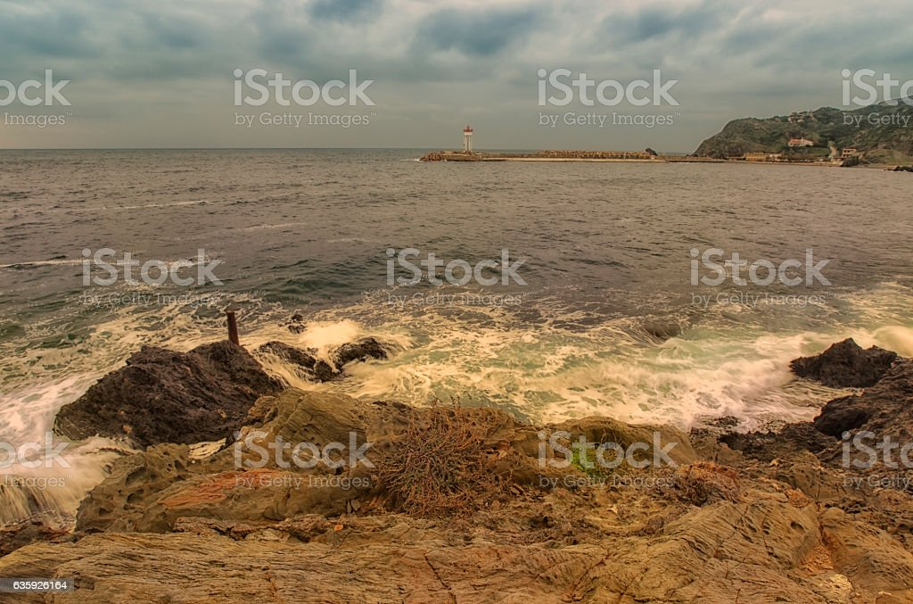 Phare de Port Vendres stock photo