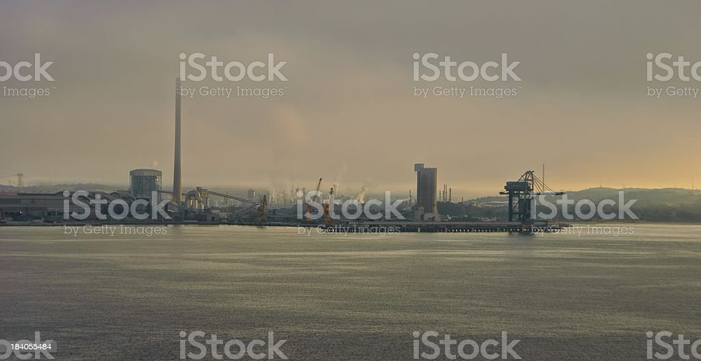 Port view at sunset royalty-free stock photo