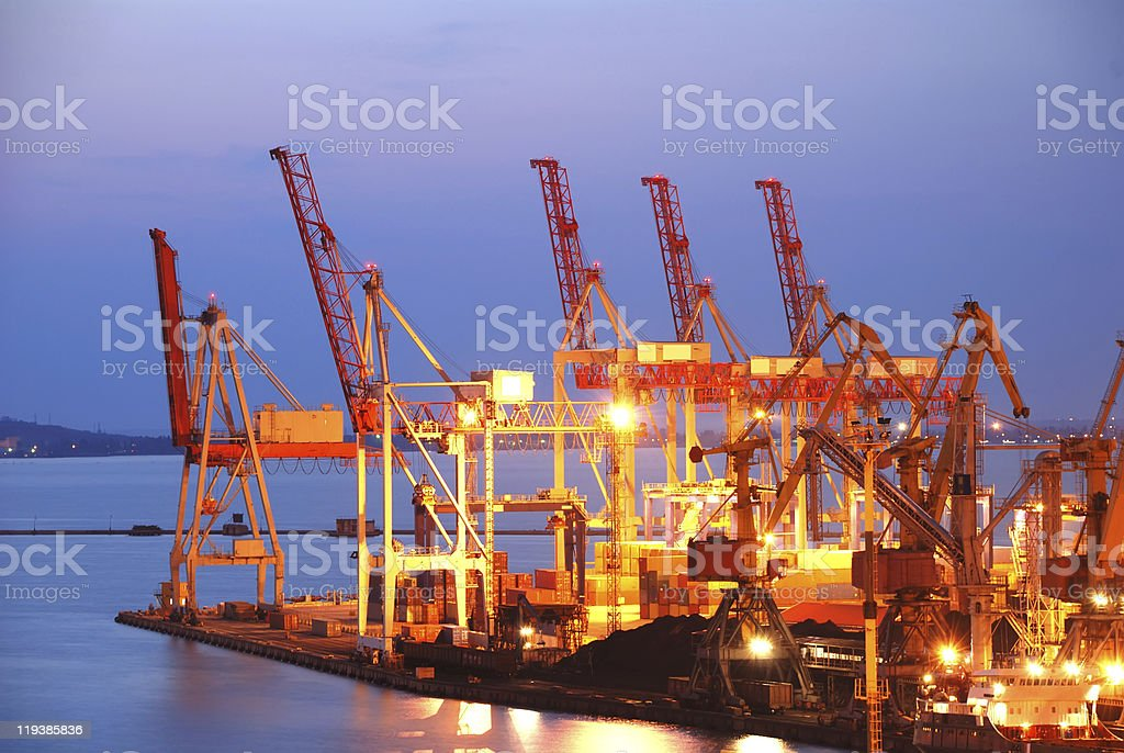 Port warehouse with cargoes and containers stock photo