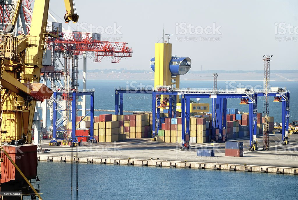 Port warehouse with cargoes and containers royalty-free stock photo