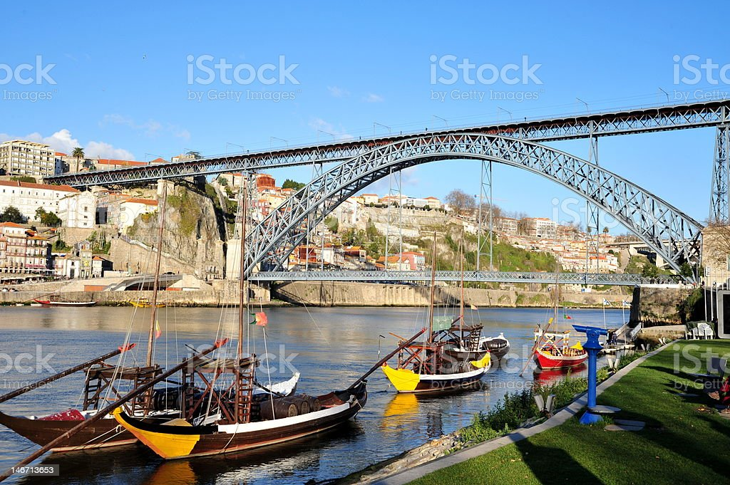 Port Wine Boats Under Dom Luis 1 Bridge royalty-free stock photo