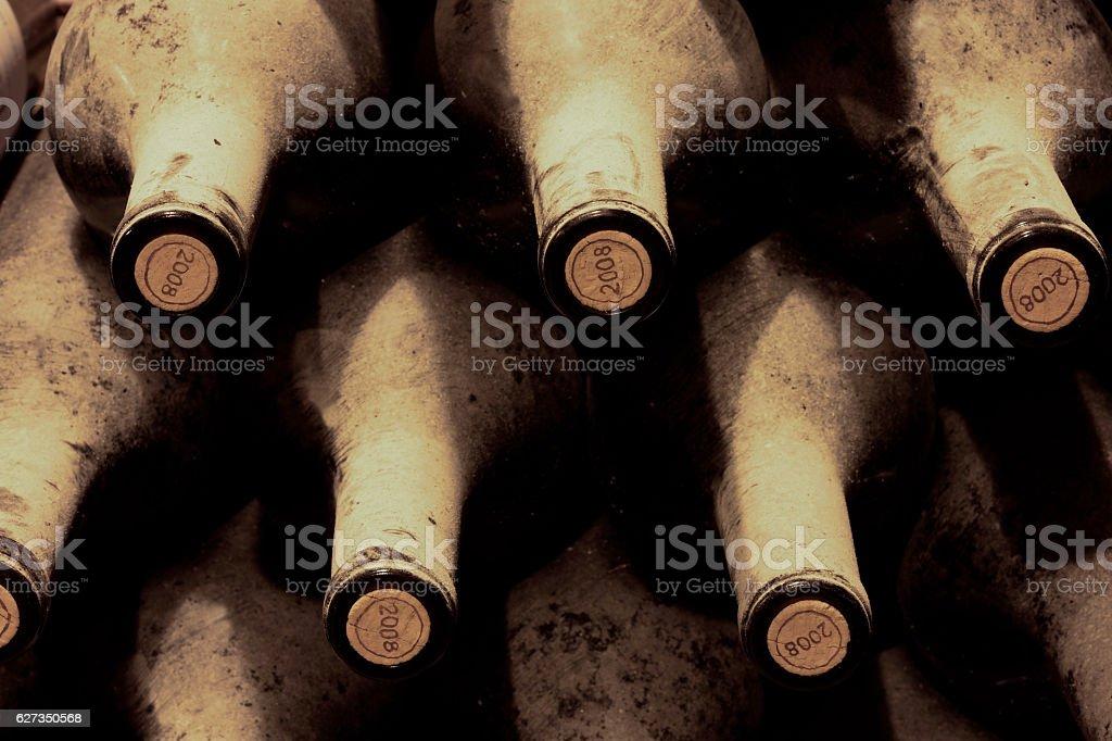port wine bottles in a celler stock photo