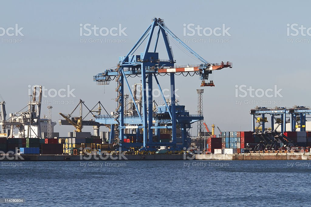 port with cranes and containers stock photo