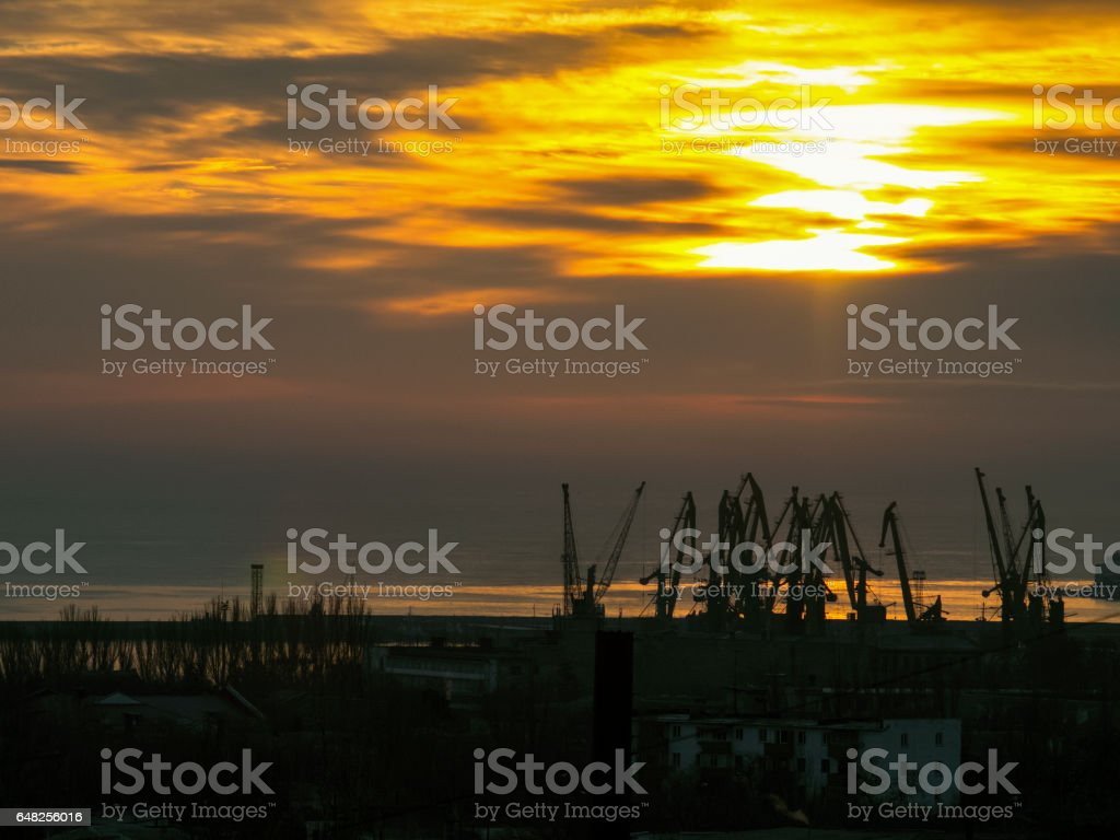 Port with cranes in the early morning stock photo