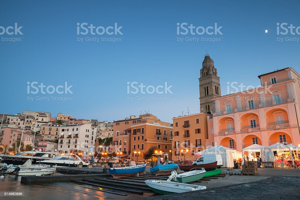 Port with moored boats and pleasure yachts stock photo