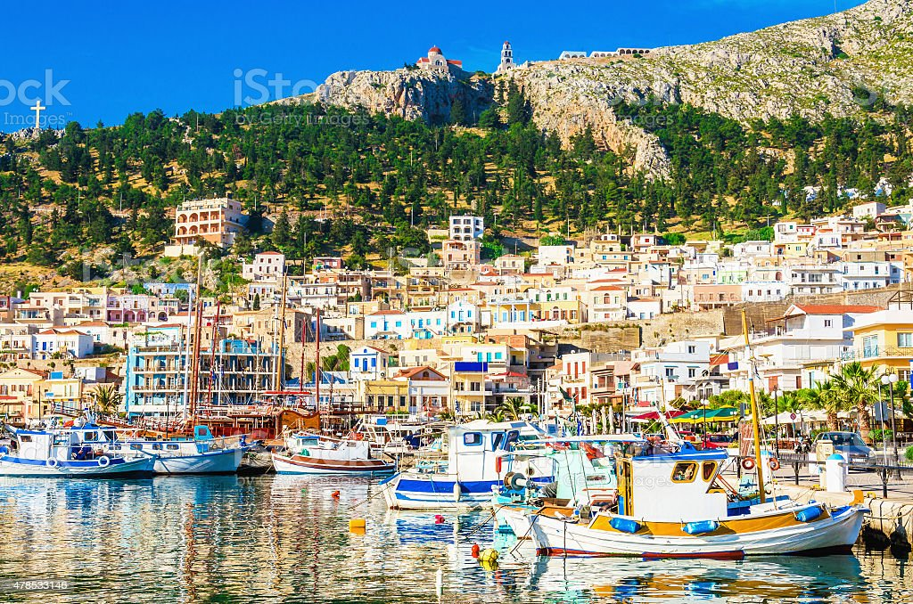 Port with small fishermen's boats on Greek Island stock photo