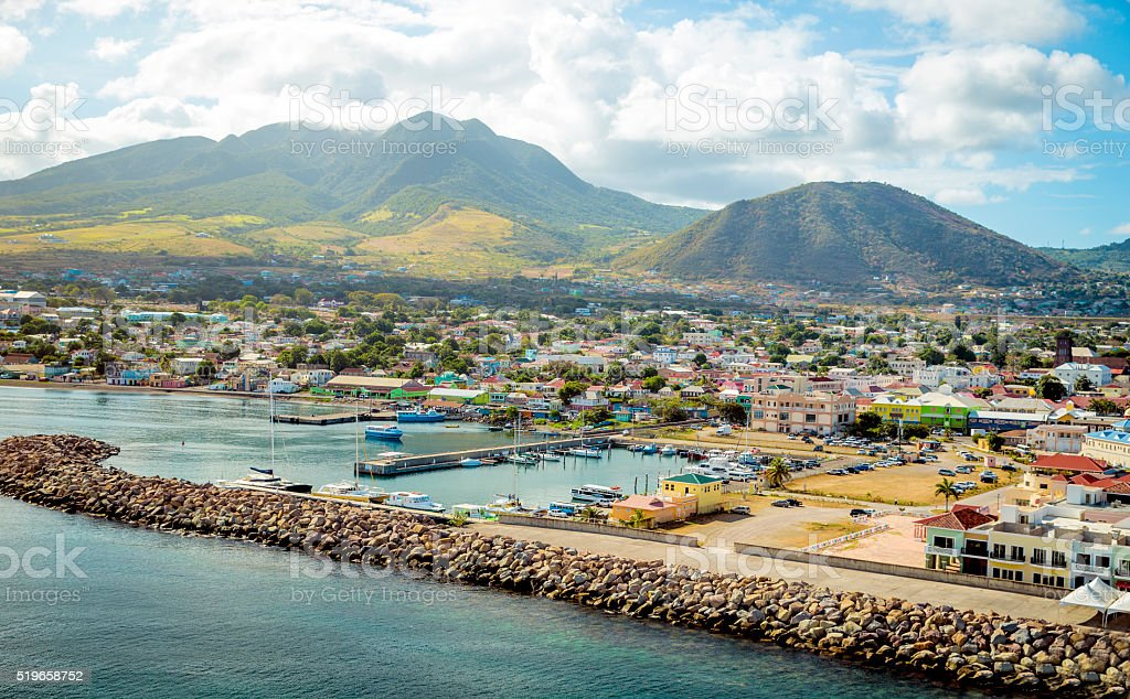 Port Zante on St. Kitts island stock photo