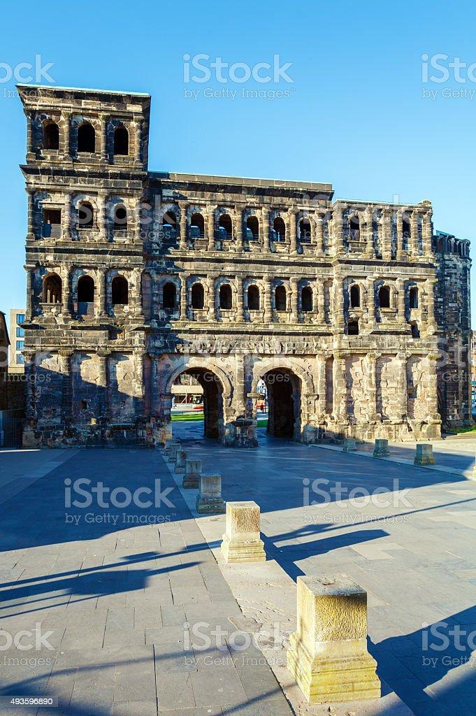 Porta Nigra - Black Gate at Night, Trier stock photo