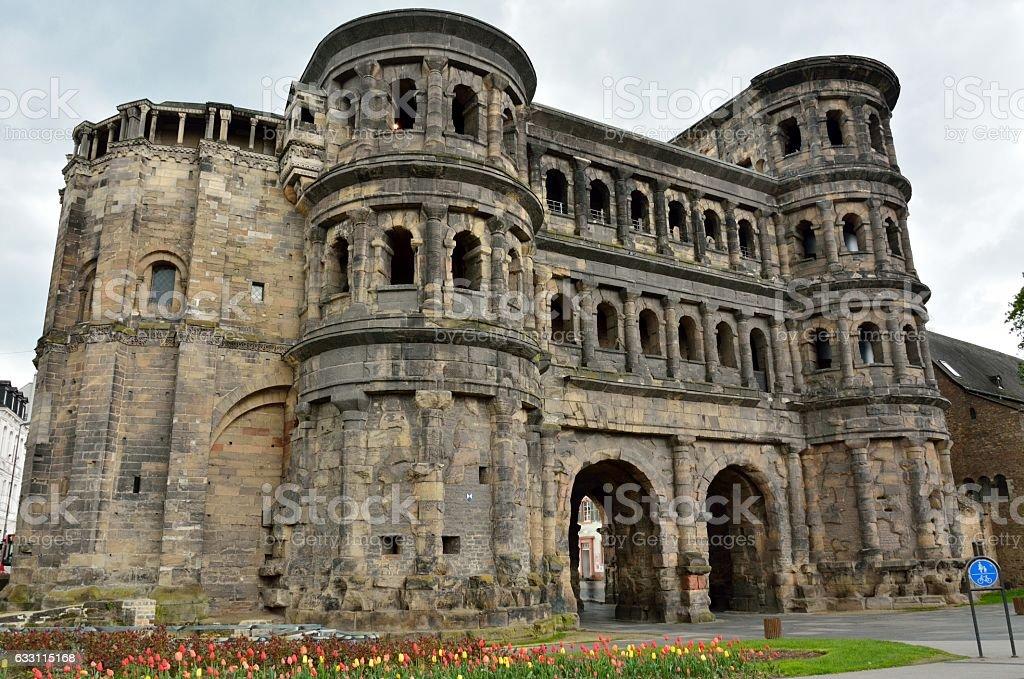 Porta Nigra city gate in Trier, Germany. stock photo
