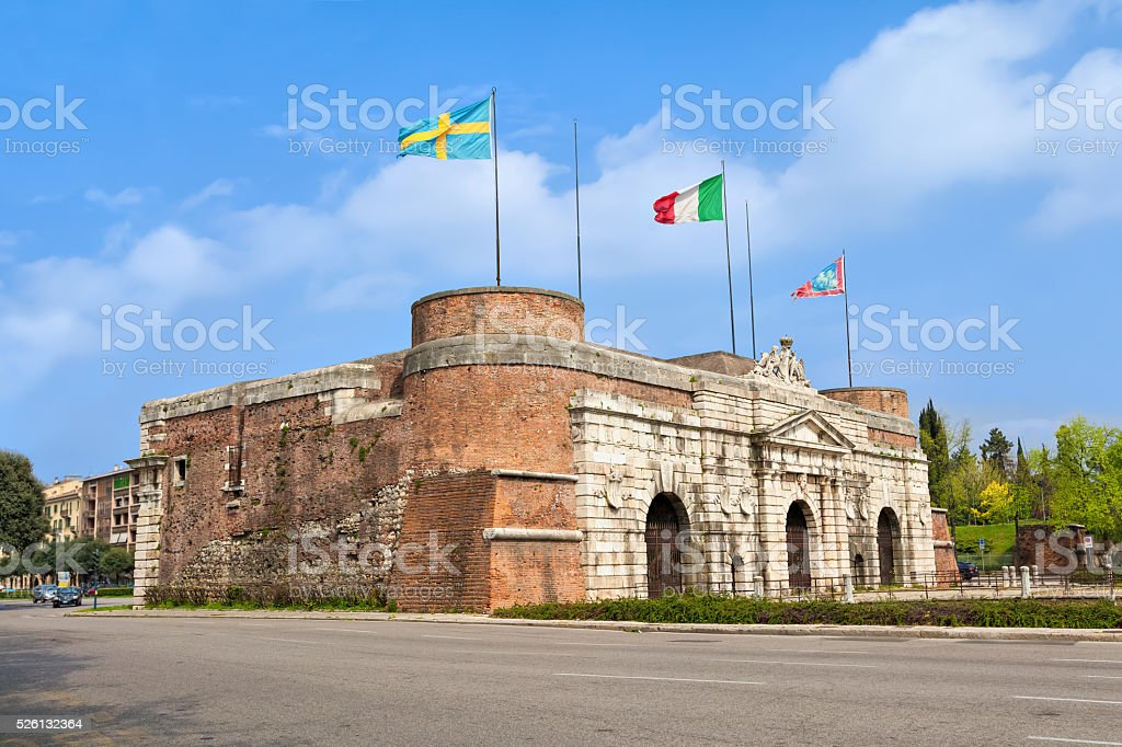 Porta Nuova -  a monumental city gate of Verona stock photo