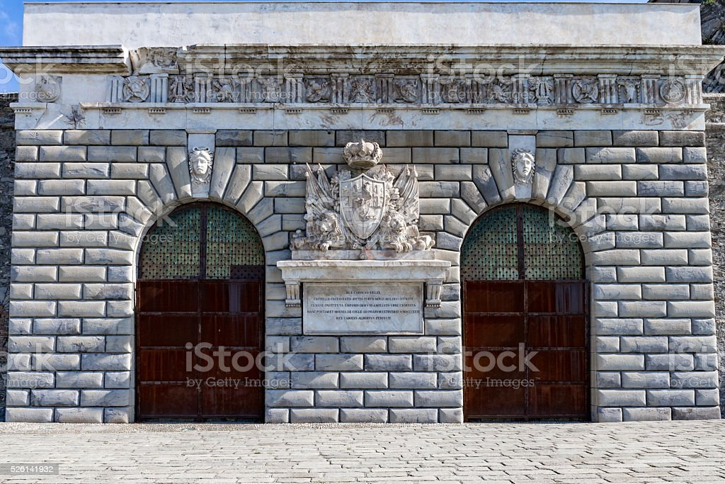 'Porta Nuova' ancient gate of the 'Lanterna' lighthouse Genoa, Ita stock photo