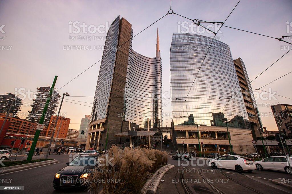 Porta Nuova District in the evening, Milan stock photo