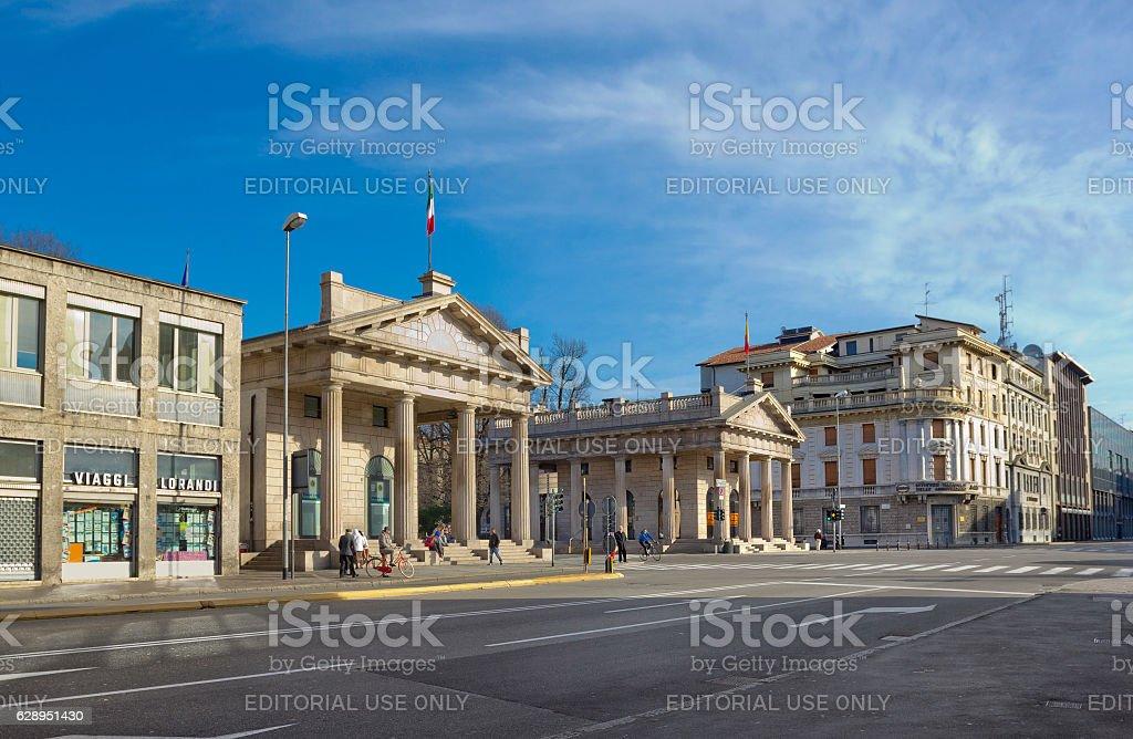 Porta Nuova in Bergamo, Italy stock photo