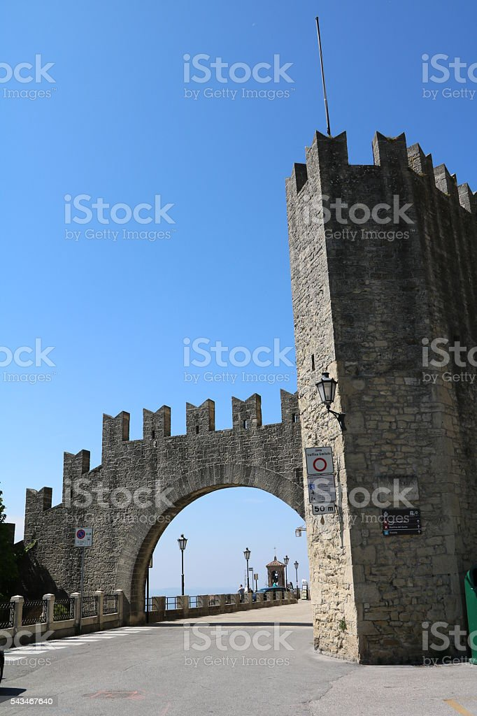 Porta nuova in San Marino under blue sky stock photo