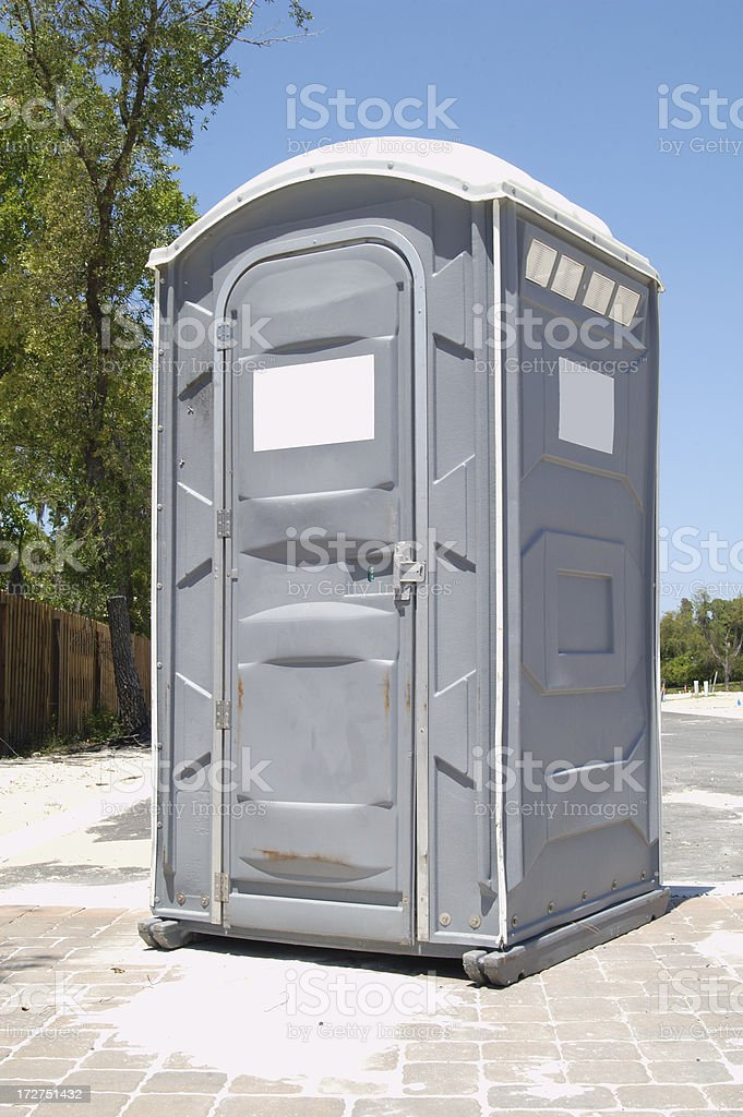 Porta potty on construction site stock photo