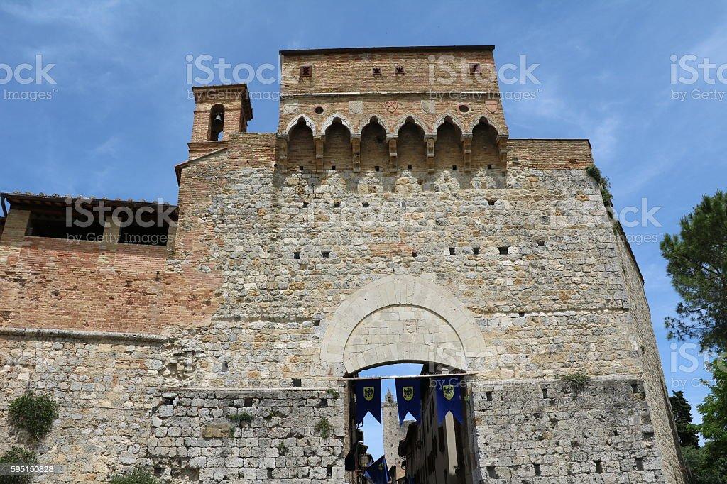 Porta San Giovanni in San Gimignano, Tuscany Italy stock photo