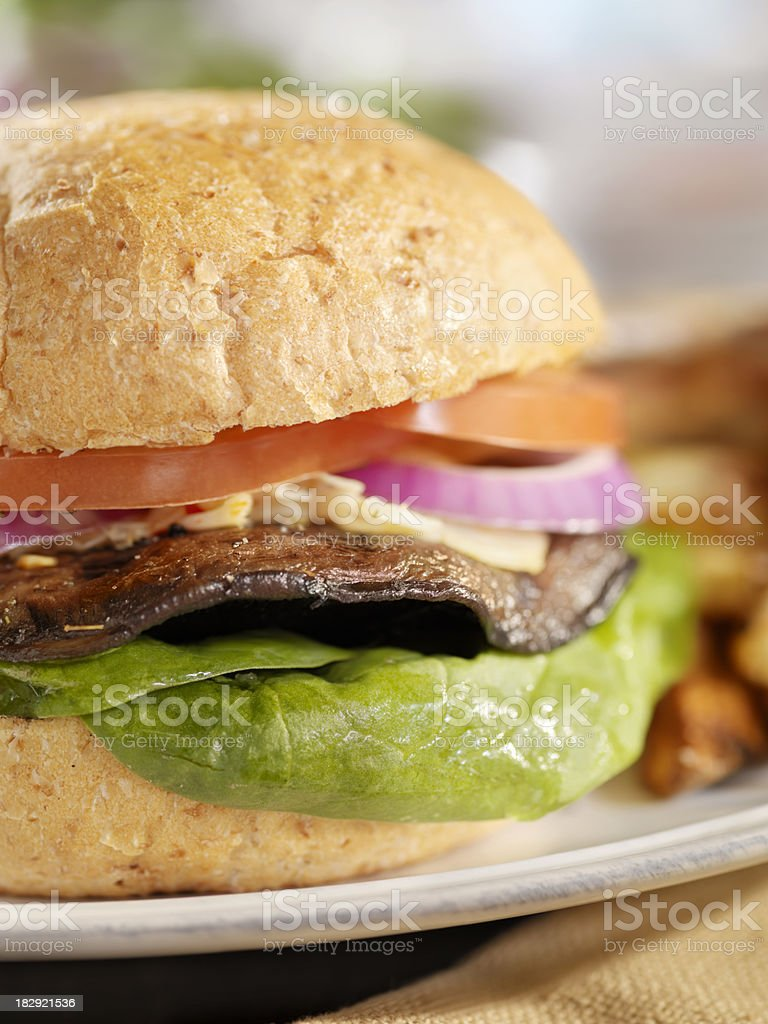 Portabello Mushroom Burger with Spinach stock photo