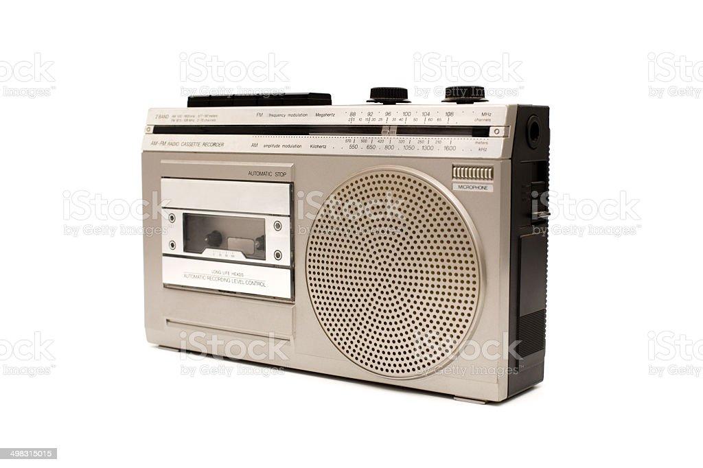 Portable AM-FM Radio/Cassette Recorder, On White stock photo