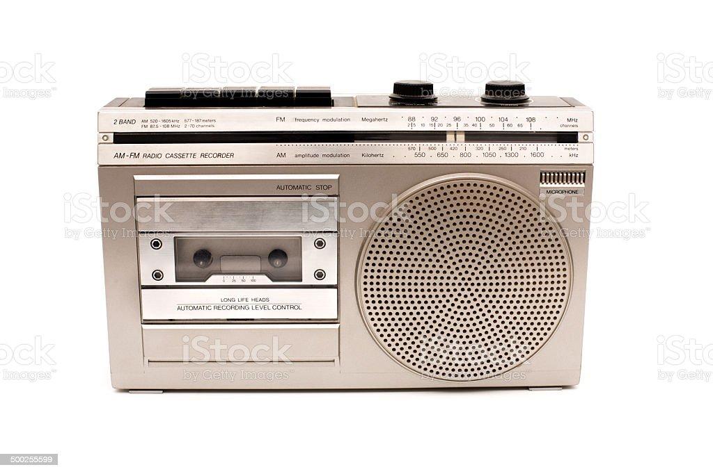 Portable AM-FM Radio/Cassette Recorder, On White royalty-free stock photo