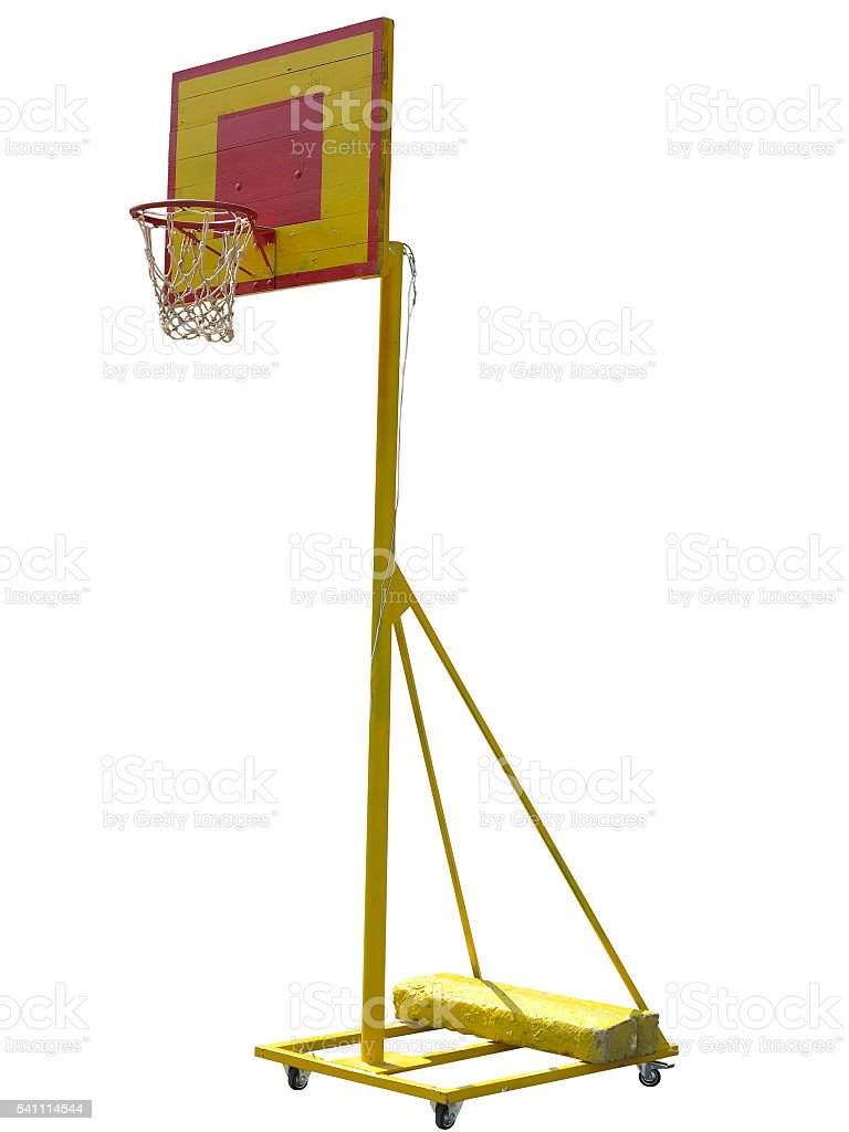 Portable basketball hoop board on white background stock photo