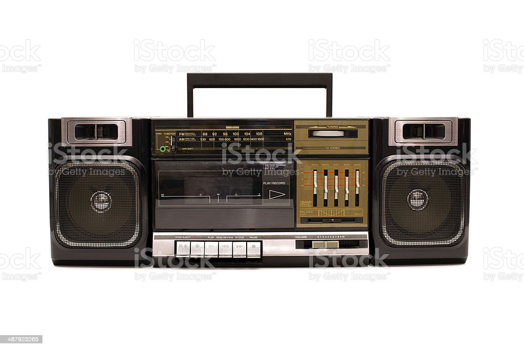 Portable, Black Boom Box, With White Background stock photo
