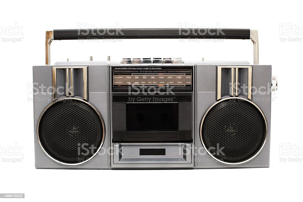 Portable Boom Box, With White Background stock photo