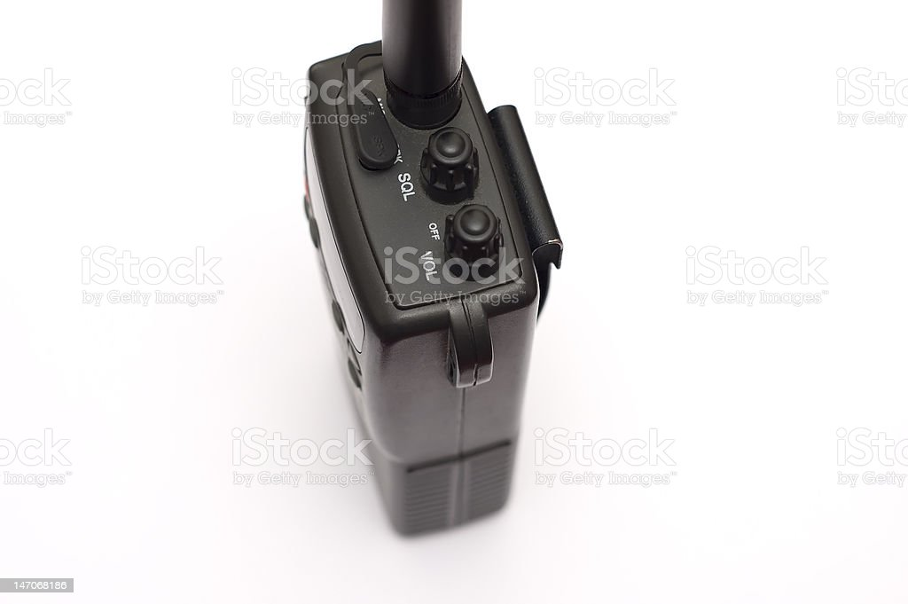 Portable CB radio transceiver isolated over a white background stock photo