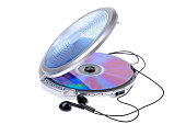 A portable CD player with headphones