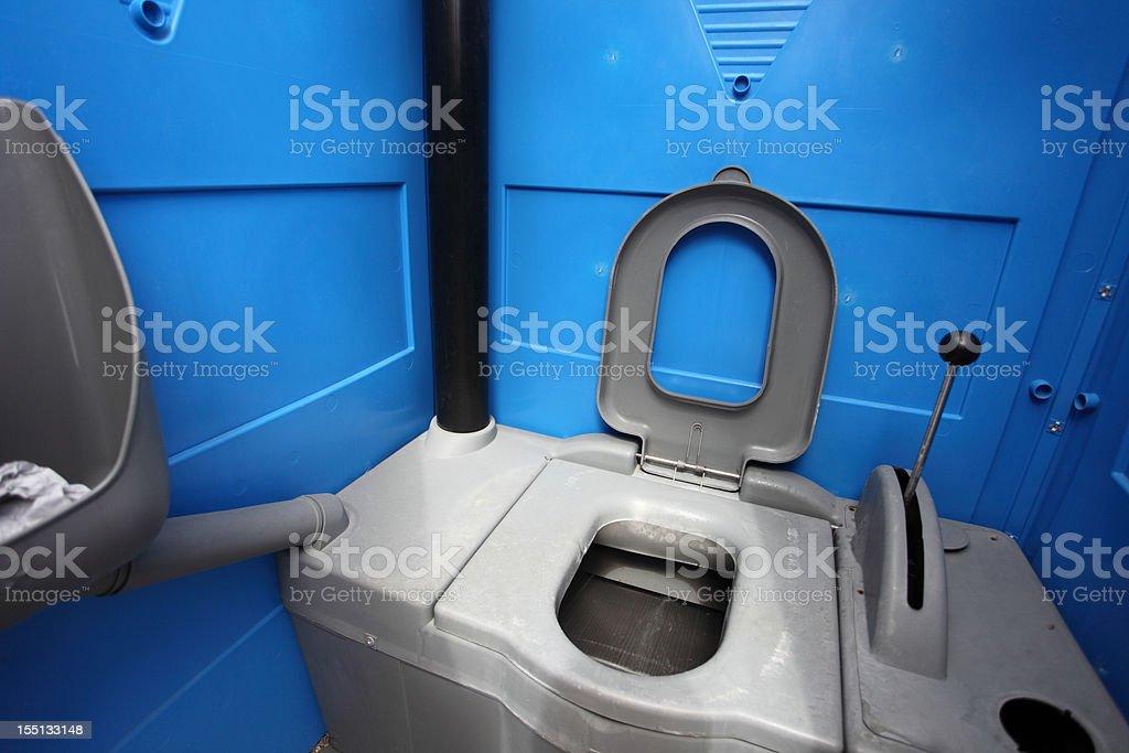 Portable chemical toilet stock photo