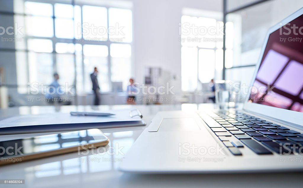 Portable devices for work stock photo