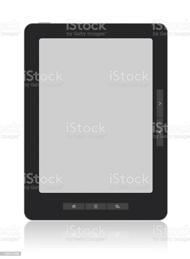 Portable E-Book Reader with Clipping path royalty-free stock photo
