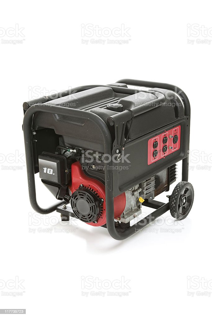 Portable electric generator against white background stock photo