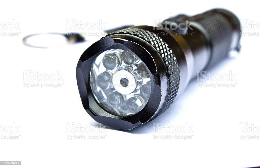 Portable flashlight. stock photo