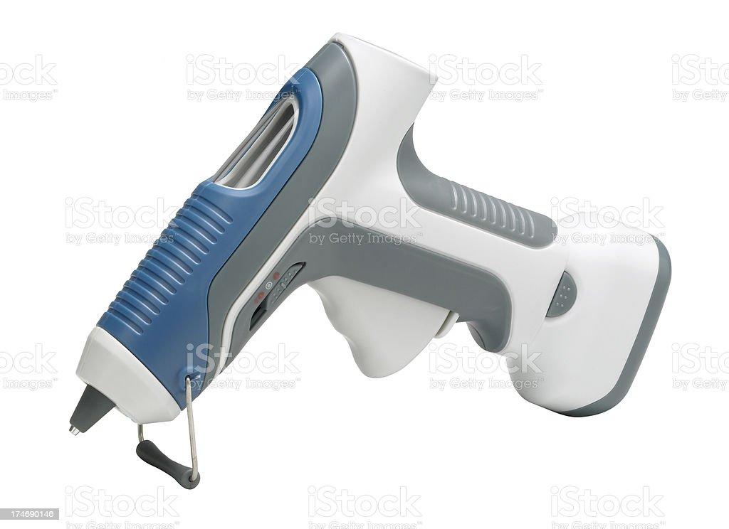 Portable hot melt glue gun on white background stock photo