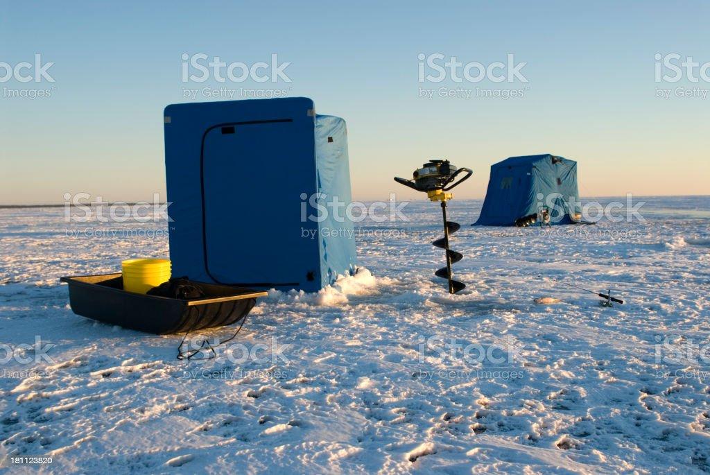 Portable Ice Shacks stock photo
