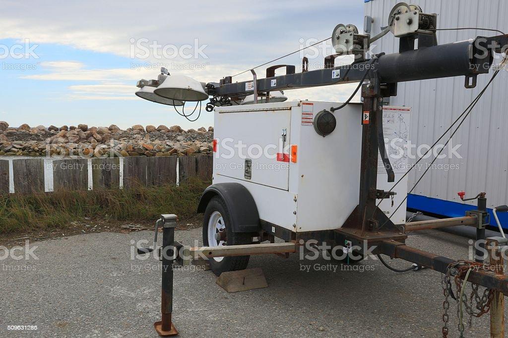 Portable lighting equipment on a trailer. stock photo