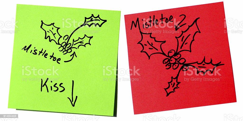 Portable Mistletoe as Post-it Notes royalty-free stock photo