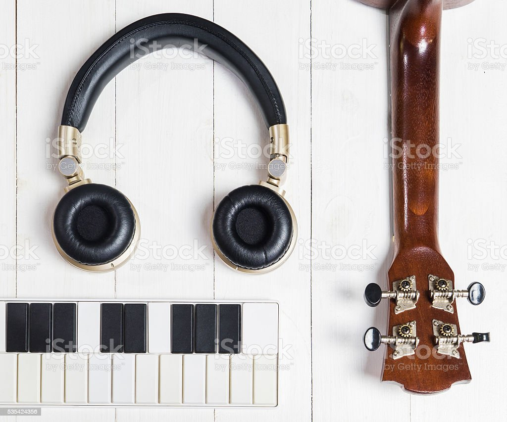 Portable Music instruments for song writing stock photo