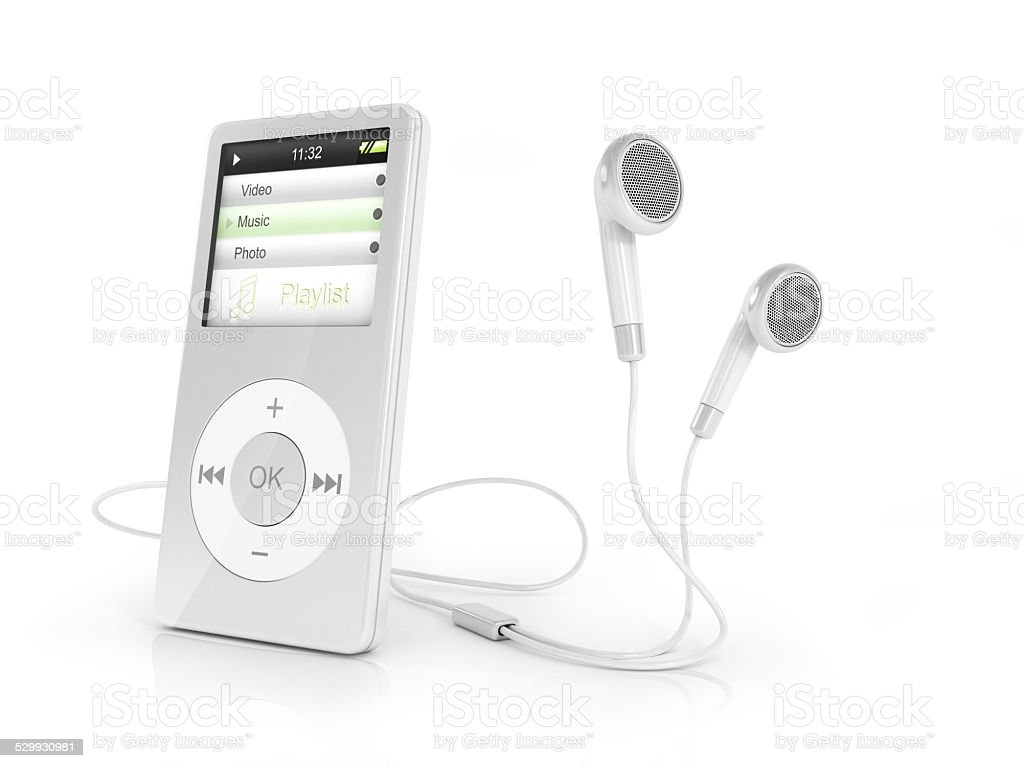 Portable musical player and headphones. stock photo