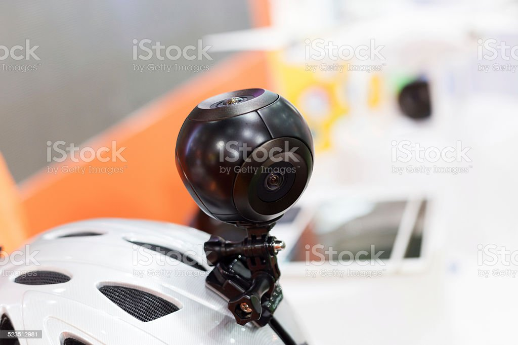 portable panoramic camera sample in technical exhibition. stock photo