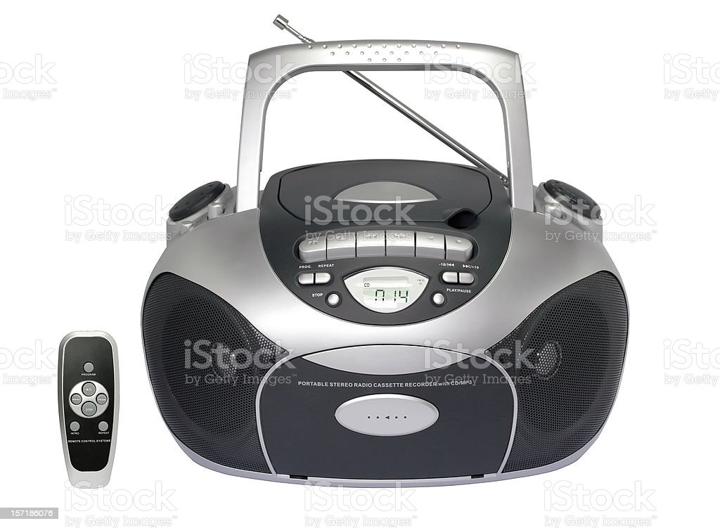 Portable radio cassette recorder with CD/MP3 player (clipping path), isolated stock photo