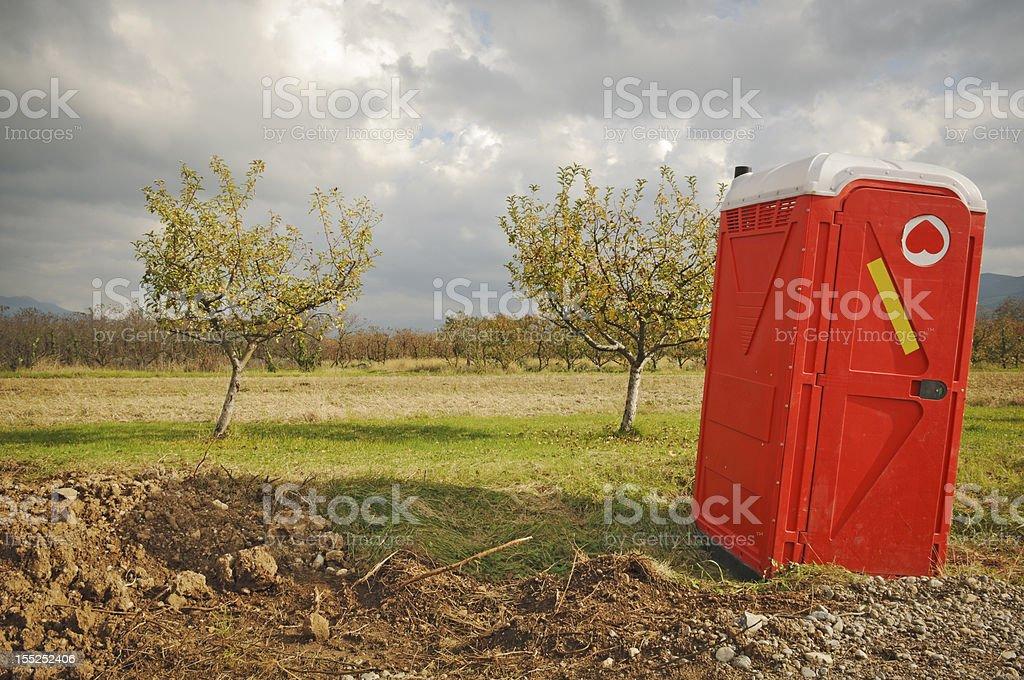 portable red toilete stock photo