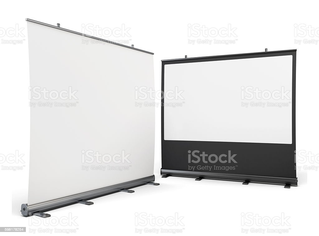 Portable screens for presentations isolated on white background. stock photo