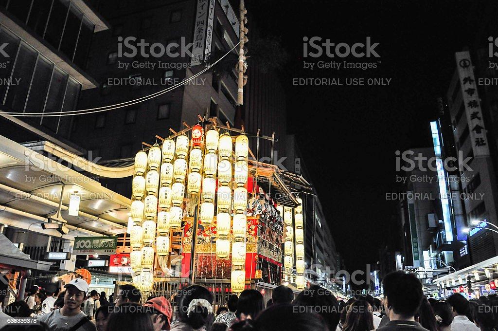 Portable shrine in Gion Festival, Kyoto, Japan stock photo