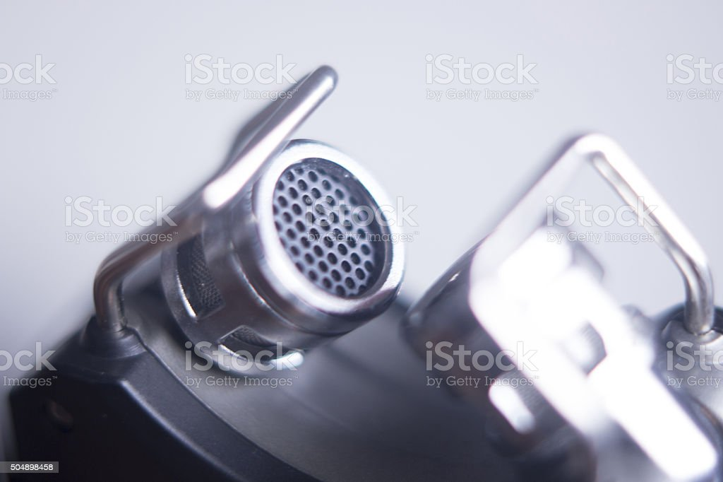 Portable sound recorder built in microphones stock photo