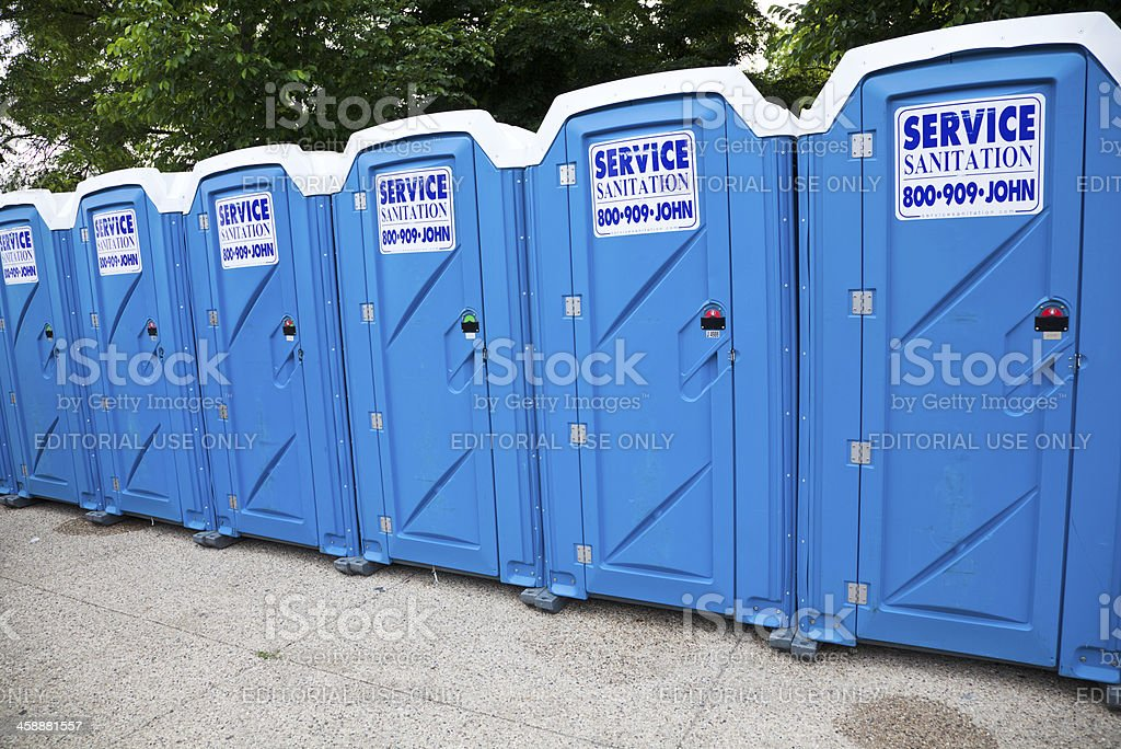 Portable toilets in Chicago stock photo