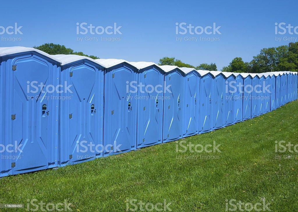 Portable toilets stock photo